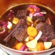 Beef short-ribs with veg in red wine
