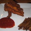 Grown-up chicken fingers and hot sauce