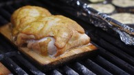 Plank-grilled chicken with honey, mustard, horseradish glaze