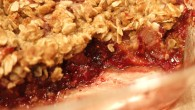 Rhubarb raspberry crisp